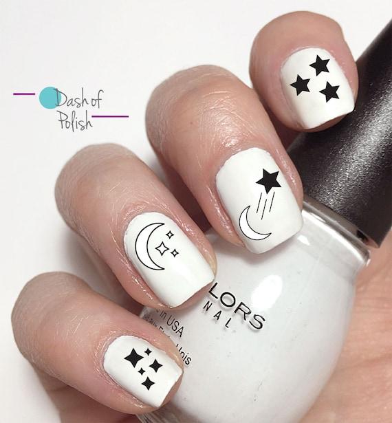 Luna y estrella diseño uñas calcomanías-agua uñas etiqueta de