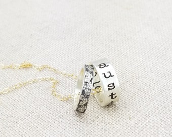 Personalized Custom Name Necklace · Personalized Jewelry · Personalized Mother Gift · Birthstone Necklace · Ring Necklace
