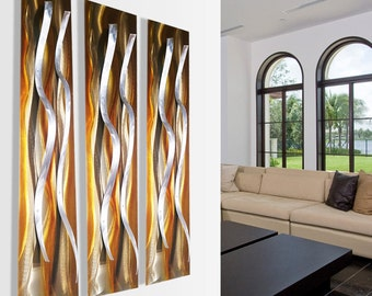 "Modern Abstract Copper Gold Silver Metal Wall Sculpture Painting ""3 Tides"" by Dustin Miller"