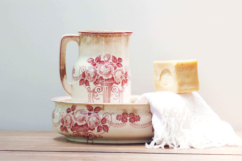 vasque et broc de toilette villeroy et boch roses shabby. Black Bedroom Furniture Sets. Home Design Ideas