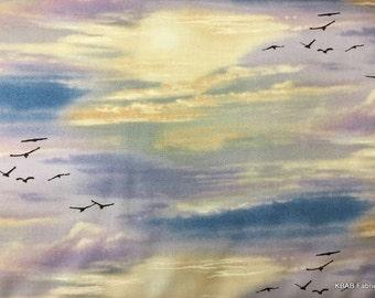 Sky Bird Medley Landscape Fabric Elizabeth Studios Birds in Sky Horizon Fabric t3/5