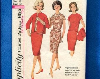 1960's Simplicity 5110 Lady's Short Kimono Sleeve Top & Box Jacket Size 12