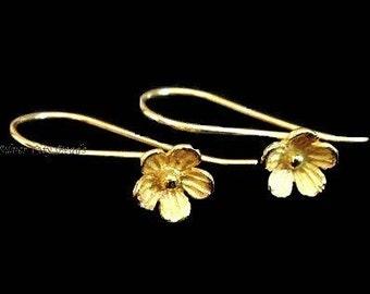 Bali 24k Vermeil Flower Earwire, 26x7.4 mm, 1 pair