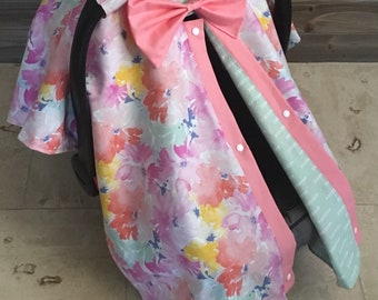 Watercolor baby car seat canopy, carseat canopy cover, baby shower gift, baby girl
