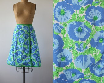 1960s wrap skirt / 60s blue lime green floral skirt / 60s reversible wrap skirt / 60s blue poppy skirt / 60s op art floral skirt / medium