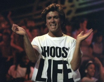 CHOOSE LIFE Wham Replica George Michael T Shirt Retro 80s Fancy Dress up to 5XL