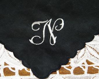 """Vintage White on Black Monogrammed Monogram """"N"""" Mourning Handkerchief, Hankie, Hanky - 9981"""