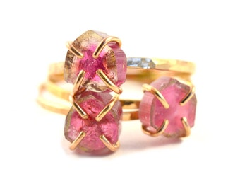 Pink Watermelon Tourmaline Ring, Raw Gemstone Ring, October Birthstone Ring
