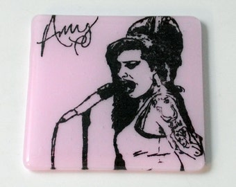 Amy Winehouse Fused Glass Coaster