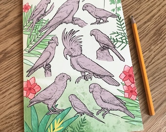 A5 recycled parrots notebook - squared paper