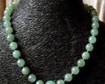 """Necklace """"Burmese ballad"""" collection """"distant Asia"""" thin pale green aventurine round beads."""