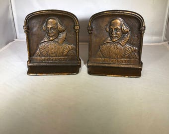 Vintage-Shakespeare-Bookends-DAL 1925-Home Decor-Shelf Decor-Collectibles