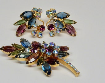 Vintage DeLizza and Elster 'Juliana' for Tara Leaf Brooch and Earrings