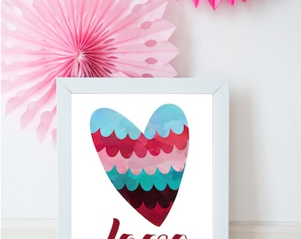Love print, Red love print, Valentines print, Rouge love print, love wall art, love home decor, Love Heart Print