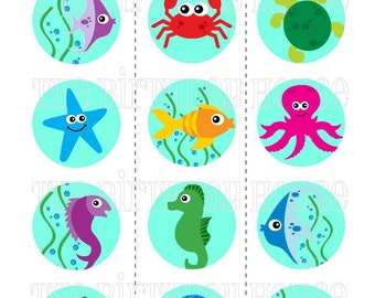 INSTANT DOWNLOAD - PRINTABLE Sea Life Party Rounds - Assorted Beach Theme Cupcake Toppers by The Birthday House