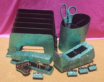 Light Green Teal Glitter Office Supplies, 10-Piece Set, School Supplies, Teacher Supplies, Teal Office Supplies, Green Office Supplies