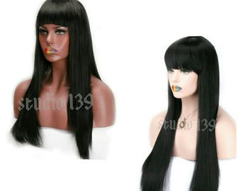 Long black wig with Chinese bangs 26inches