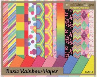 Rainbow Paper, Basic Rainbow Backgrounds, Digital Scrapbooking Paper, Cardmaking Paper, Printable Paper