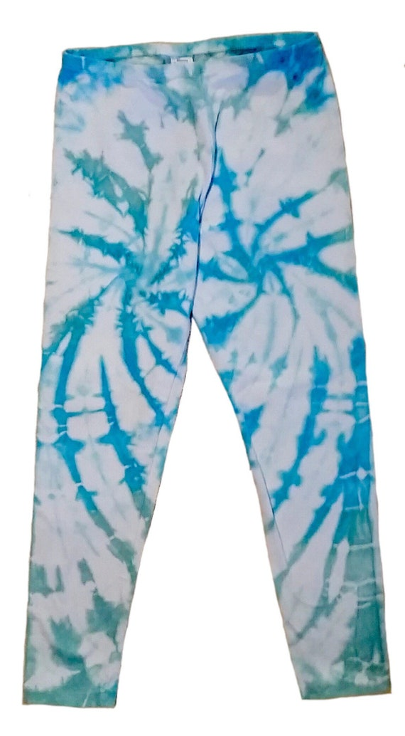 Girls Spiral Tie Dye Leggings/Youth Leggings/Glacier Blue & Seafoam Green/Gifts for Kids/Eco-Friendly Dying