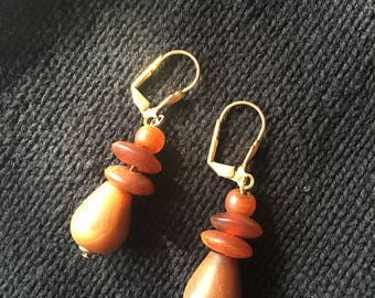 Vintage Amber and Wood Beaded Pierced Earrings on Gold Metal Wires