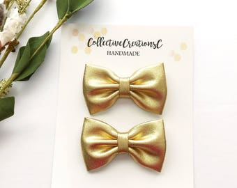 Gold Pigtail Bows - Gold Piggie Bow Set - Small Metallic Gold Bow Set - Pigtail Fabric Bows - Mini Gold Fabric Bow Set of Clips - Gold Clips