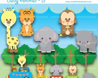 50% OFF Baby Toy Animals Train Tiger Hippo Elephant Monkey Giraffe PDF PNG File - Instant Download Printable Clipart Clip Art Digital