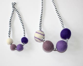 Purple Doll and Me Felted wool Ball Necklaces