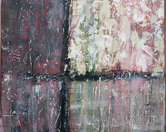 Small Abstract Acrylic Painting Textured Painting Red Painting Back Painting Tan Painting Green Painting Modern Art Contemporary