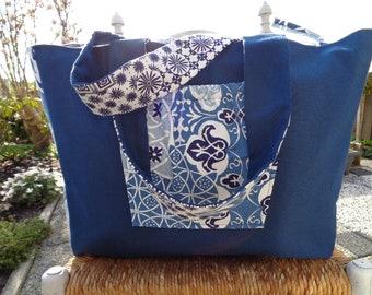 Blue Flowers Beach Bag