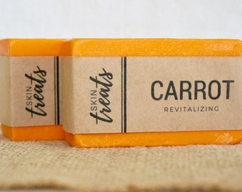 SET OF 2 Carrot Soap, Carrot and Glycerin Soap Bar, Homemade Soap, Coconut Oil Soap, Natural Bar Soap Gift, Witch Hazel Soap, Body Soap