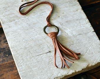 Tan Leather Tassel Necklace - Boho Fringe Necklace - Bohemian Necklace - Tan Leather Fringe Necklace - Boho Tassel Necklace - Bohemian