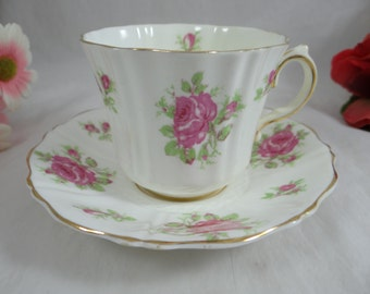 1930s Old Royal English Bone China Pink Rose Teacup English Teacup and Saucer - Charming Tea Cup