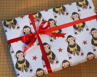vintage mechanical toy monkey gift wrap colorful thick wrapping paper cheeky monkey