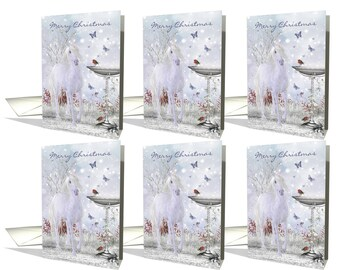 Merry Christmas Winter Unicorn, Robins and Butterflies card