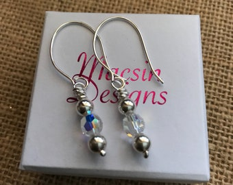 Handmade in Argentium Silver 935, with sterling silver snd clear AB Swarovski Crystal beads