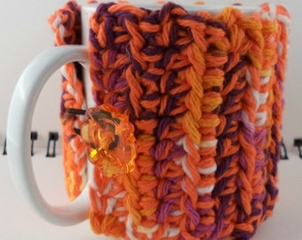 Crocheted Coffee or Ice Cream Cozy, Orange and Pink Sherbet (SWG-Z05)