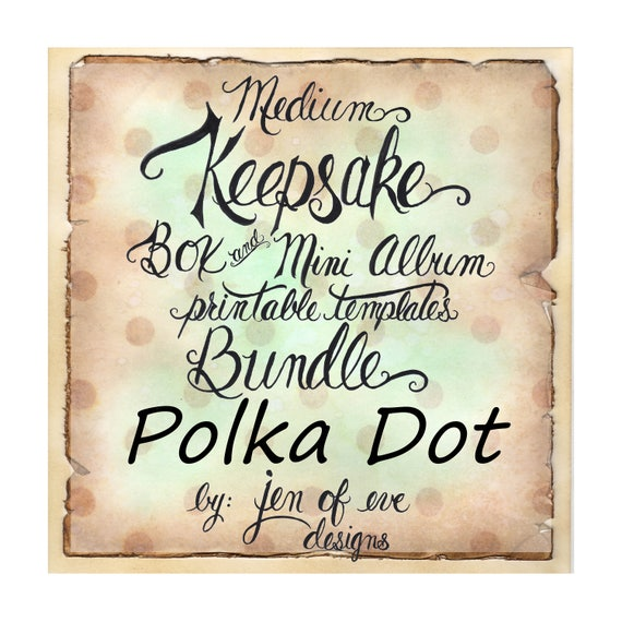 MEDIUM Keepsake Box & Mini Album Printable Template in Polka Dot and Plain