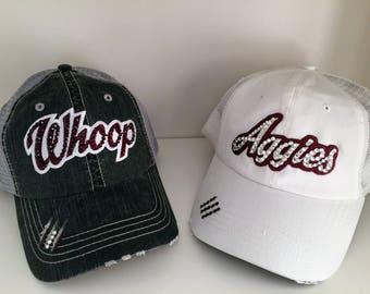 AGGIES Bling Hat - Distressed Trucker Cap- Aggies Football - Swarovski Rhinestones