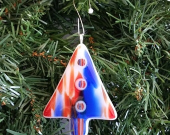 Fused Glass Christmas Tree Ornament
