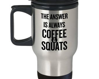 Coffee & Squats Travel Mug - Crossfit Gift - Gym Gift - Fitness Gift - 14 oz Stainless Steel