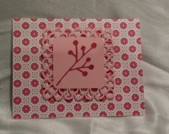 Pink Cherry lace greeting Card