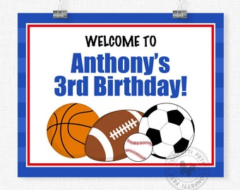 Sports Party Welcome Sign, All-star Sports Party Decorations, Sports Birthday Sign, Boy Birthday Sign, Printable 8x10 Sign