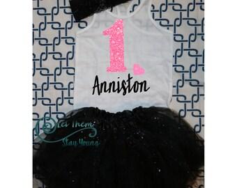 Customized First Birthday Shirt Tank Top Birthday Baby Girl Shirt Baby Girl Custom 1st Birthday Shirt pink Glitter First Birth Day