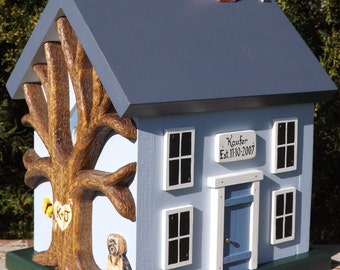 Personalized Birdhouse with Heart Carved Tree