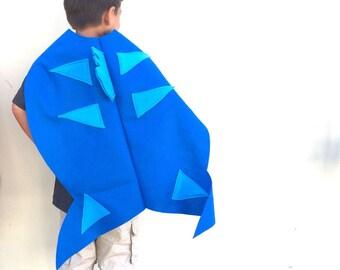 Blue Fish Cape, Kids Halloween Costume or Dress Up Cape