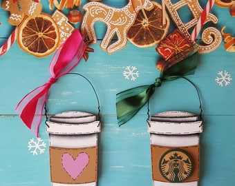 Starbucks Coffee Cup Christmas Ornament, Heart Coffee Cup Personalized Christmas Ornament