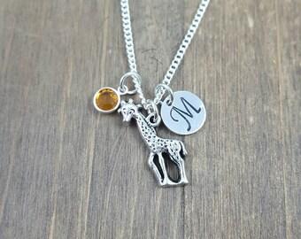 Personalized Giraffe Necklace - Hand stamped Monogram Giraffe Necklace - Initial, Birthstone Necklace - Swarovski Crystal Birthstone