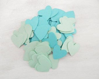 Heart Confetti Robins Egg Blue and Mint 1 Inch