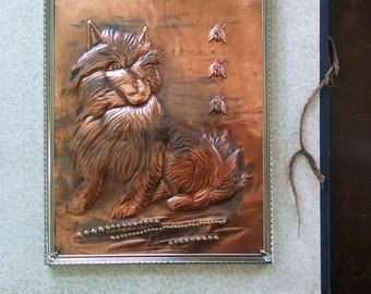 Copper Repousse Dog Metal Wall Art Mixed Media Assemblage