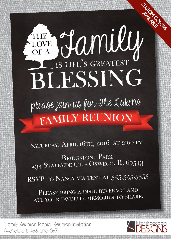 Family Reunion Chalkboard Invitation-Digital File-Custom